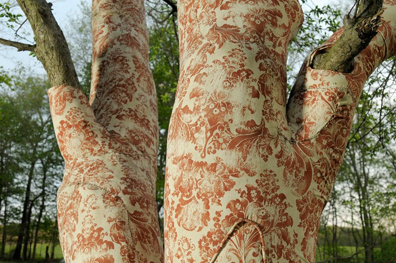 """Upholstered Tree, Soft Shoulder in American Gothic,"" Crab apple tree upholstered in outdoor upholstery fabric and ventilated backing, 506"" x 340"" x 340, by Elizabeth Demaray, Myd Season Review"