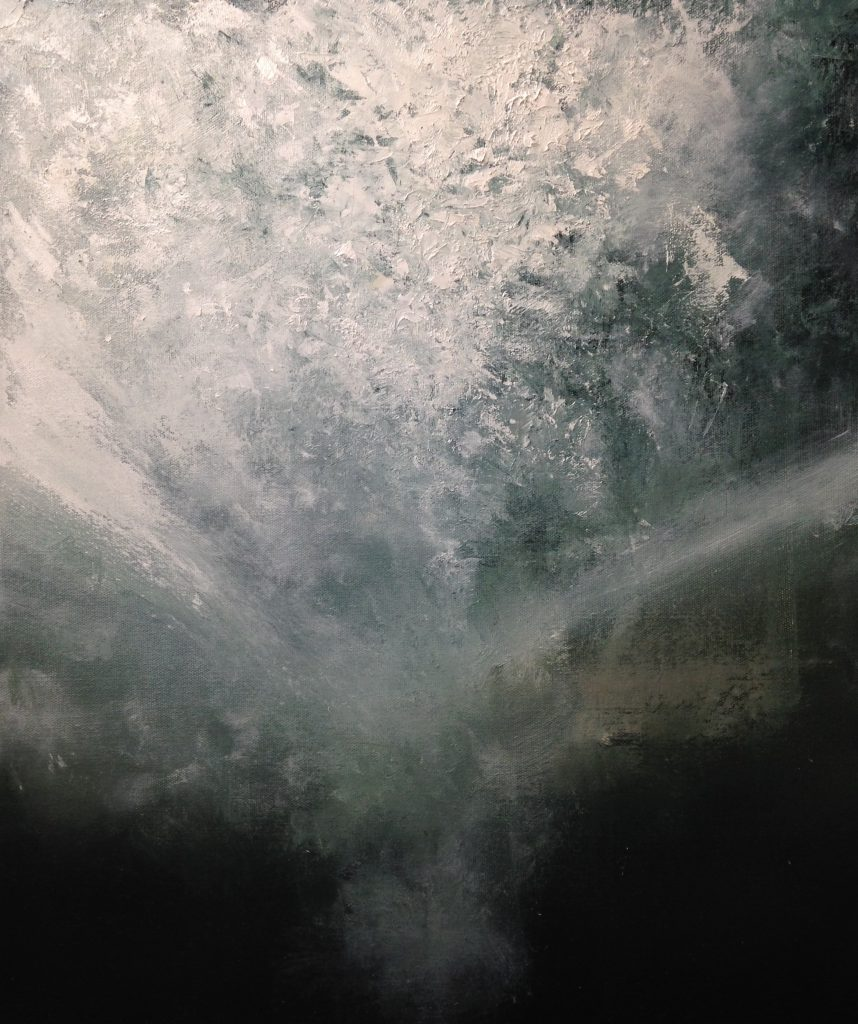 """""""Plunge/Shimmering Substance"""" by Christopher Volpe, 24"""" x 18"""" Oil on Canvas, Mud Season Review"""