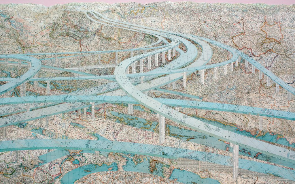 """Many Rivers"" by Matthew Cusick, 48"" x 78"", Inlaid maps and acrylic on panel, 2009, Mud Season Review"