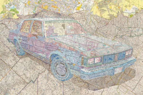 """Old's '84"" by Matthew Cusick, 30"" x 45"" Inlaid maps on panel, 2014, Mud Season Review"