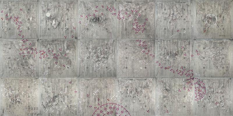 """Birthplace"" by Antonio Puri, 144""x288"" Mixed Media on Canvas, 2012-2014, Mud Season Review"