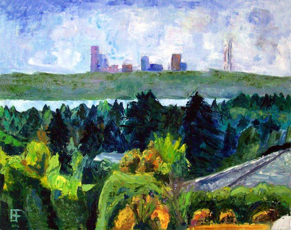 """Hilltop Road View of Seattle"" by Allen Forrest, 16""x20"" Oil on Canvas Panel, Mud Season Review"