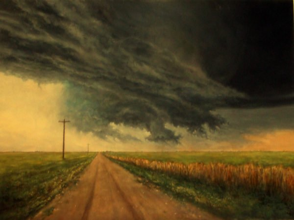 """Storms Never Last,"" Tornadic Supercell by David Smith, 24"" x 18"" Oil on panel, 2014, Mud Season Review"
