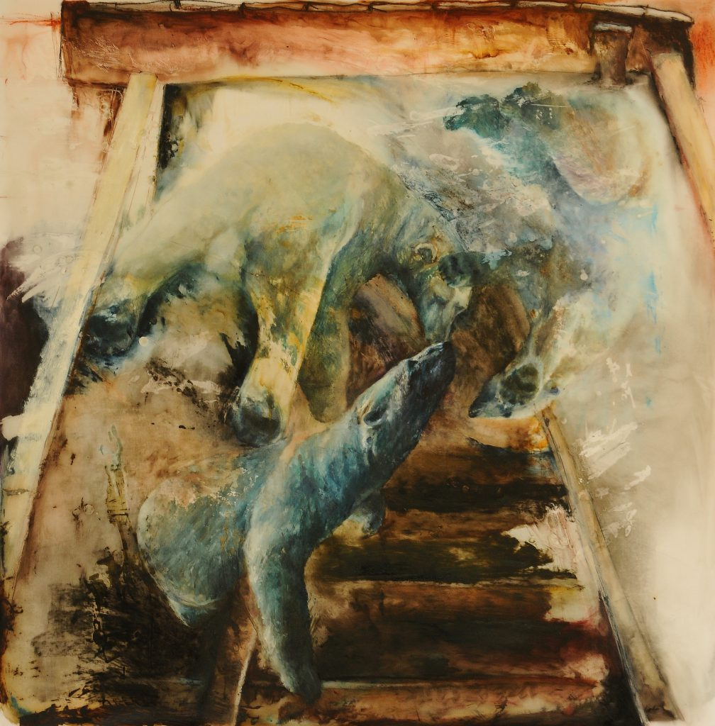 """Canary"" by Sally Linder, 36"" x 36"" Oil, Wax, Oil Stick, Oil Pastel, Tar on Drafting Film, 2010, Mud Season Review"