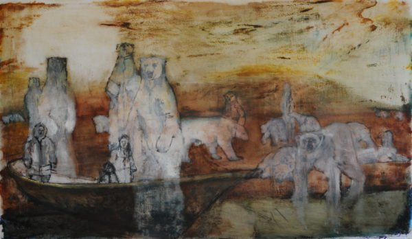 """Month Five"" by Sally Linder, 30"" x 52"" Oil, Ink, Tar on Drafting Film, 2012, Mud Season Review"