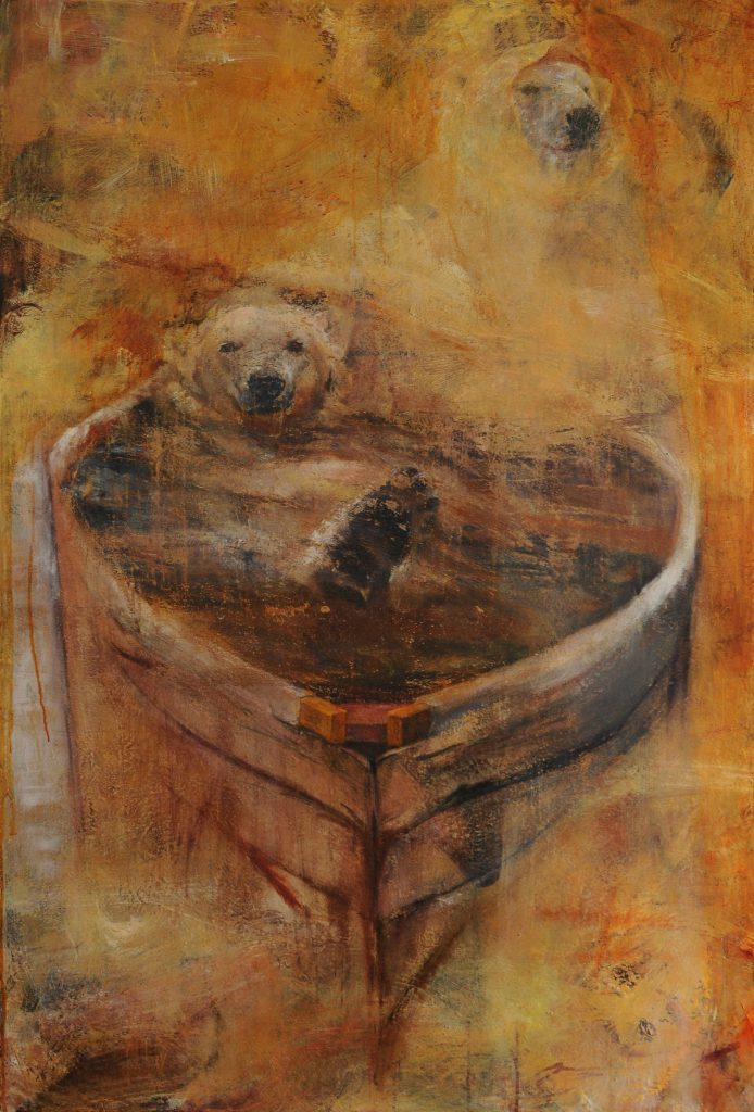 """Water on Both Sides"" by Sally Linder, 56"" x 38"" Acrylic on Canvas, 2011, Mud Season Review"