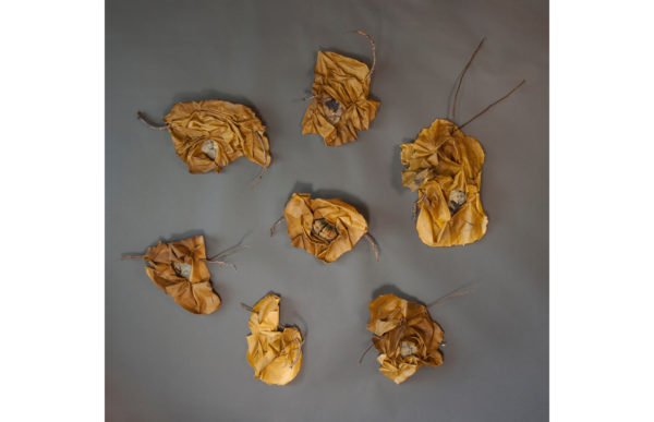 """Wild Hives / Black Queens"" by Kaylynn Sullivan TwoTrees, 12' x 12' sculptural installation of painted muslin and photographs dipped in beeswax with Poplar branches, Mud Season Review"
