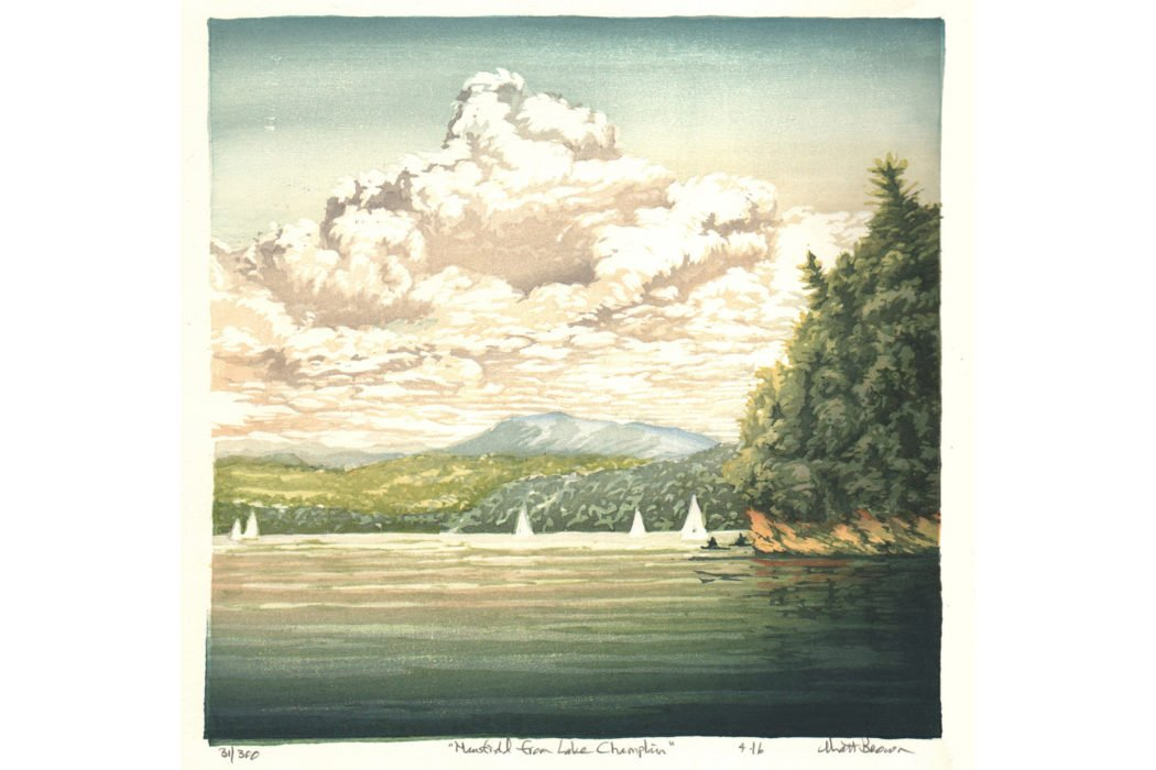 """Mansfield from Lake Champlain"" by Matt Brown, 10 1/4"" x 10 1/4"" Color Woodblock Print, Mud Season Review"