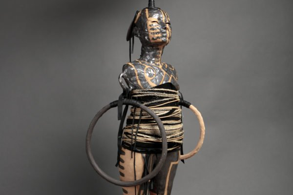 """""""Dream Machine"""" by Rose B. Simpson, 62"""" x 22"""" x 18"""" ceramic, steel, leather and rope, 2016"""
