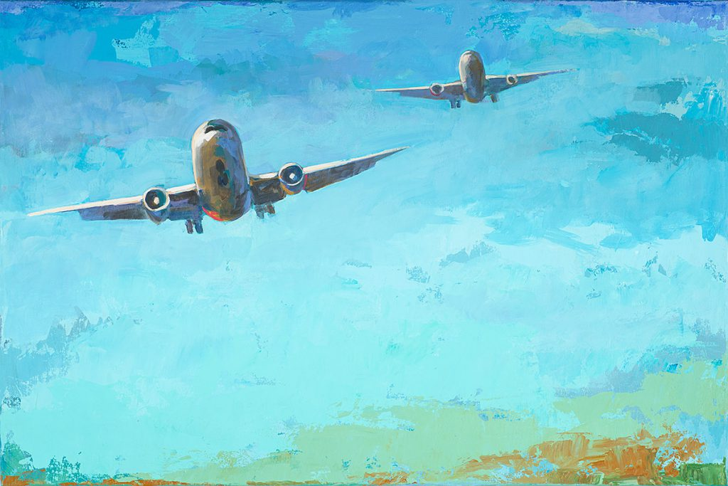 """Arrivals #3"" by David Palmer, 24"" x 36"" acrylic on canvas, 2014"