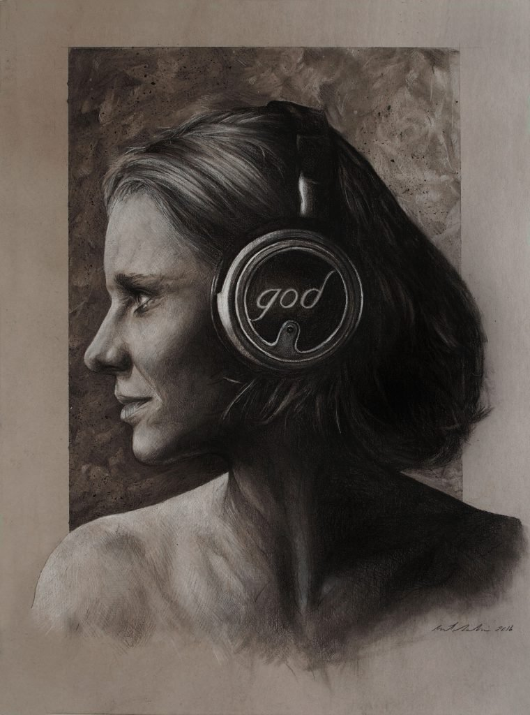 "Listen 7 by Brent Schreiber, 15""x20"", charcoal and graphite on toned illustration board"
