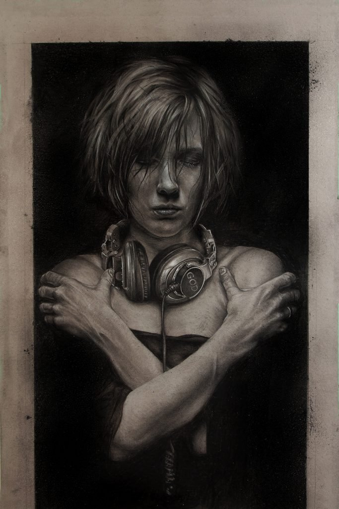 "Listen 9 by Brent Schreiber, 20""x30"", charcoal and graphite on toned illustration board"