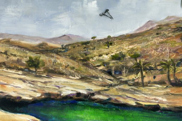 """Diving at Wadi Bani Khalid"" by Adelaide Tyrol, acrylic on board with film overlay, 7.5x10"