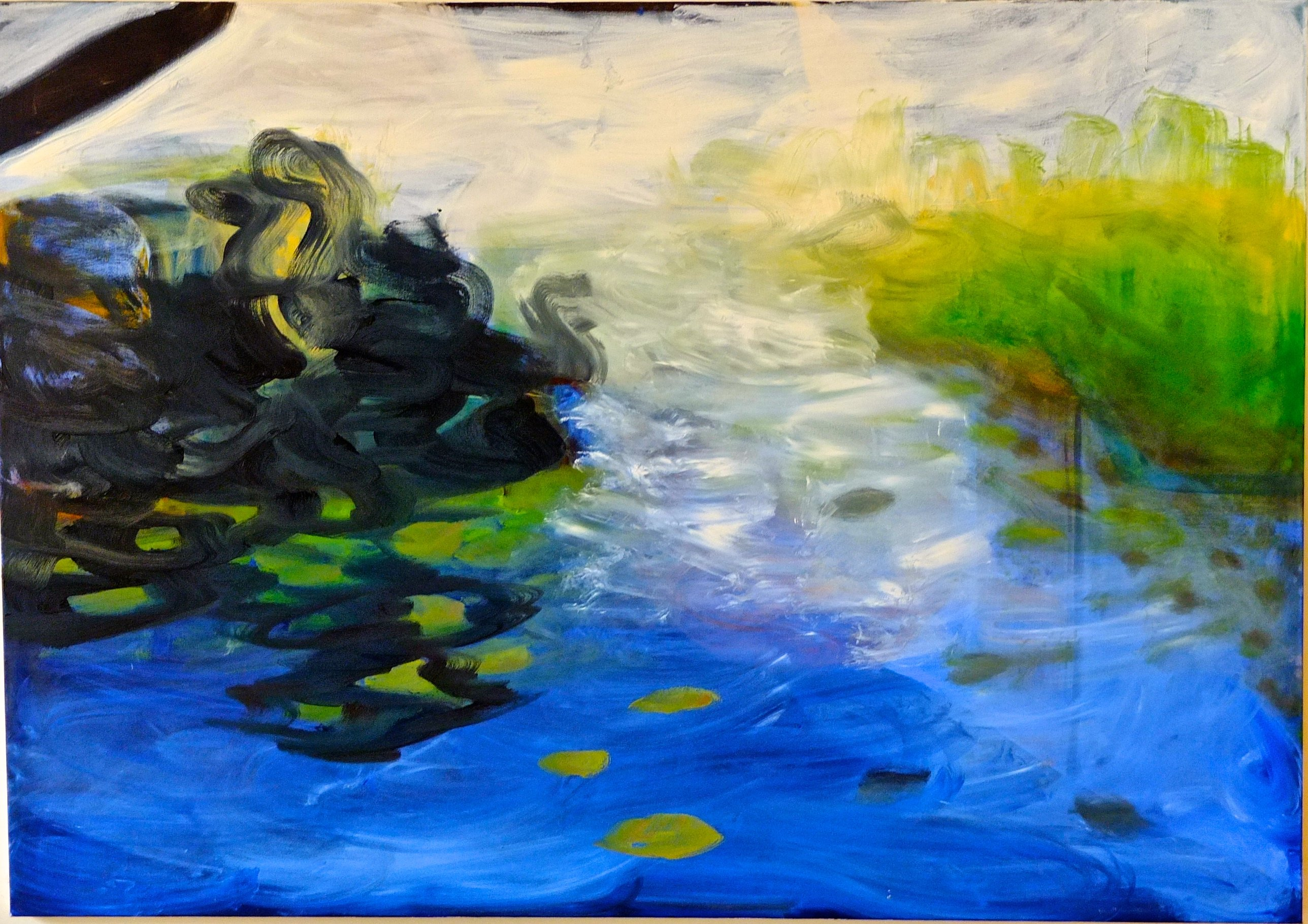 """""""Oil and Water,"""" Oil on Canvas, 48"""" x 68"""", by Ronna Lebo, Mud Season Review"""