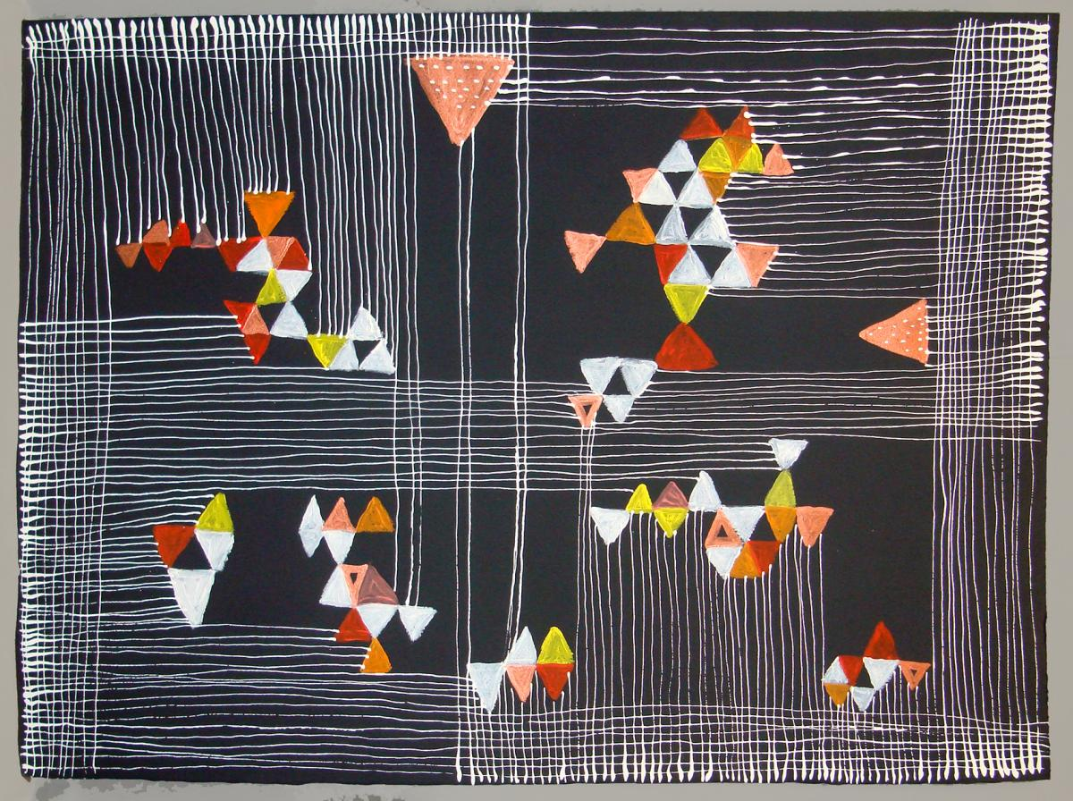 """""""Constructive Chaos Composition 507"""" by Rachel Citrino, Paint and Ink on Paper, 22"""" x 30"""", Mud Season Review"""