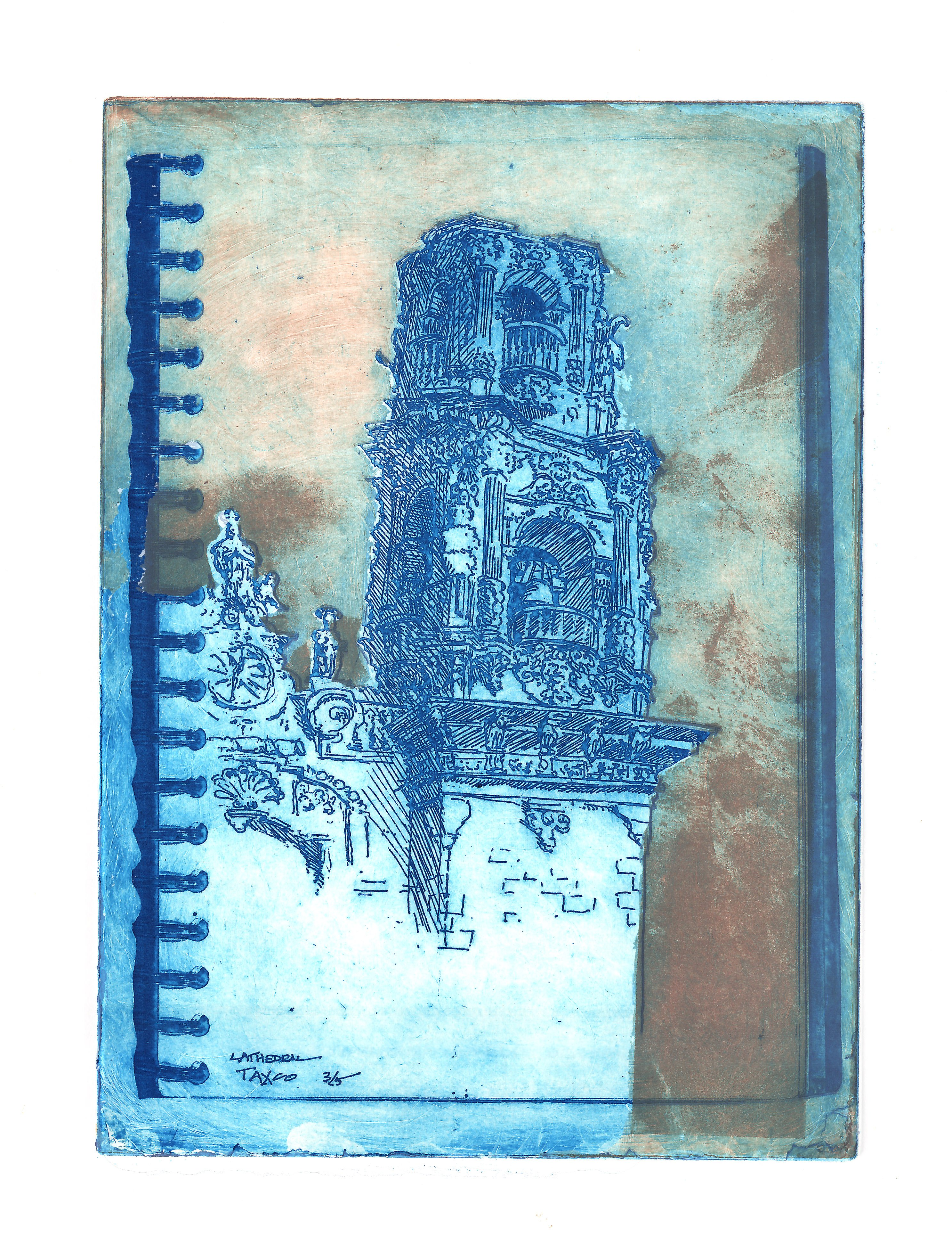 """""""Taxco Cathedral"""" by Joshua Distler, Photo-etching from Sketch, 8"""" x 11"""", Mud Season Review"""