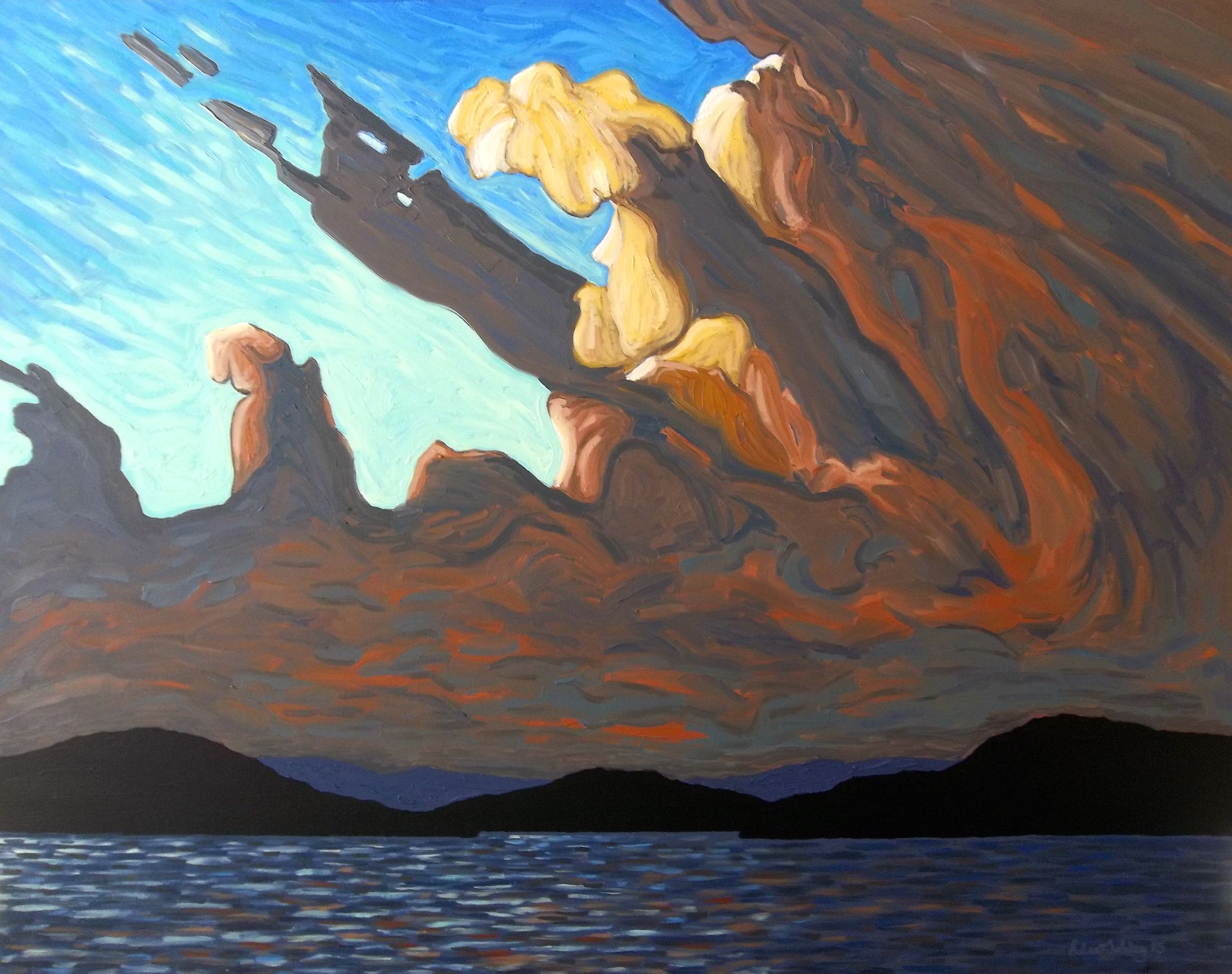 """""""Evening Clouds"""" by Robert Tokley, 36''x46'' Oil on Canvas, 2015, Mud Season Review"""