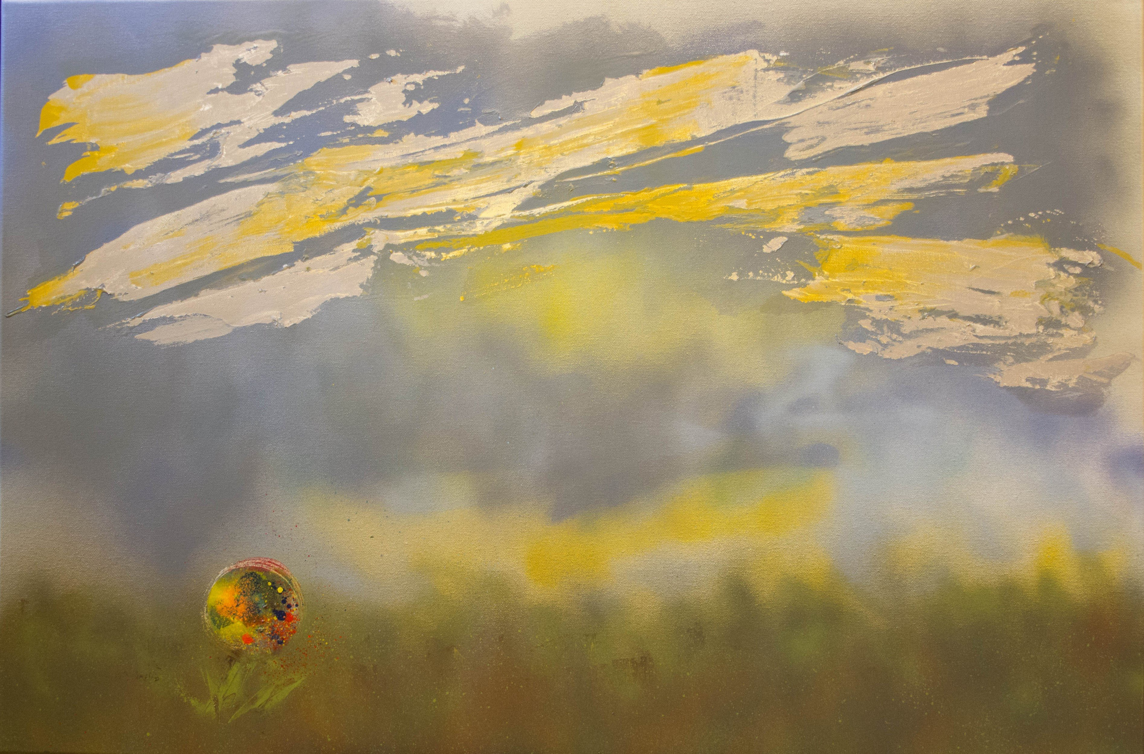 """""""#3 Pollen Tsunami"""" by Ramsay Wise, 24"""" x 36"""" Spray Paint and Acrylic on Canvas, Mud Season Review"""