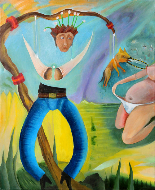"""Calm Part Mental Eyes"" by Robert Zurer, 30 x 24 Oil on Fiberboard, 2014, Mud Season Review"