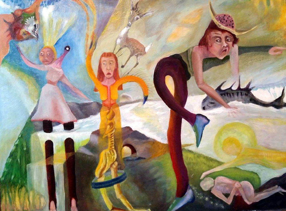 """Faith, Fierceness, Fear, Fish and Fate"" by Robert Zurer, 18 x 24 Oil on Fiberboard, 2015, Mud Season Review"