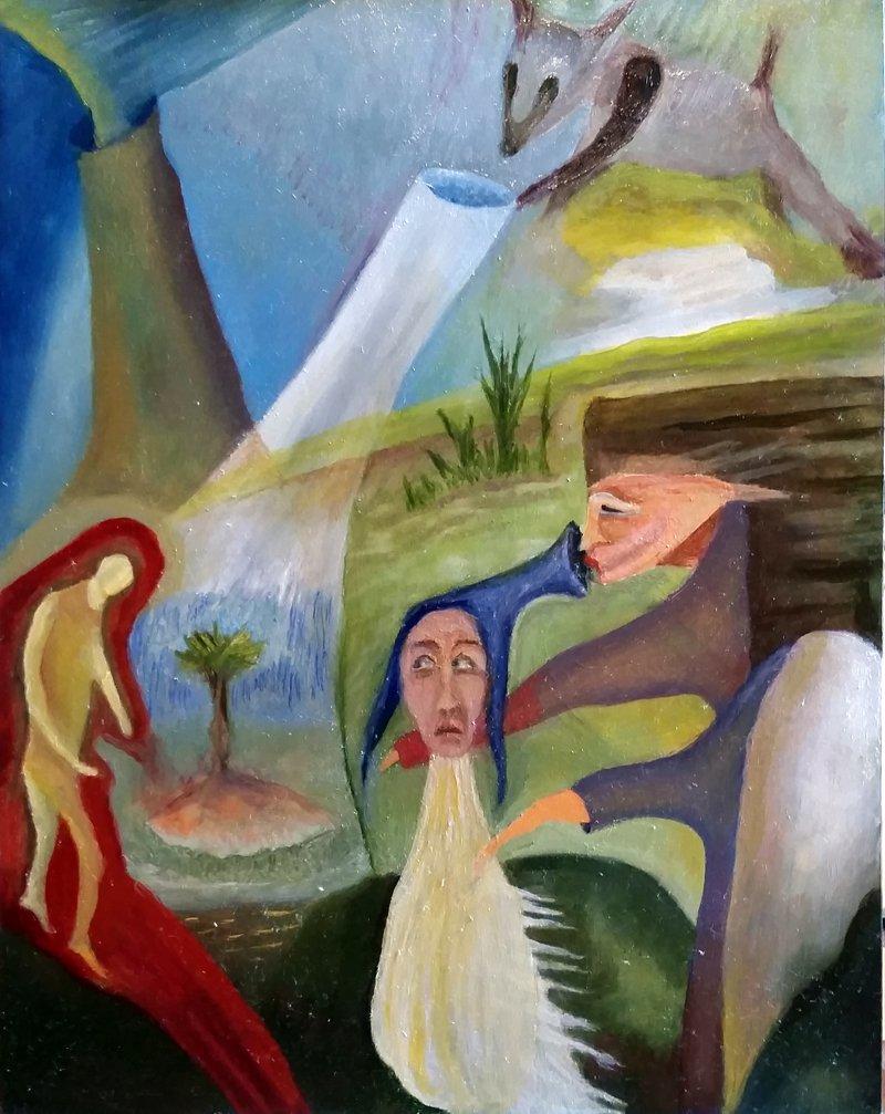 """""""Virgil"""" by Robert Zurer, 14 x 11 Oil on Fiberboard, 2015, Mud Season Review"""