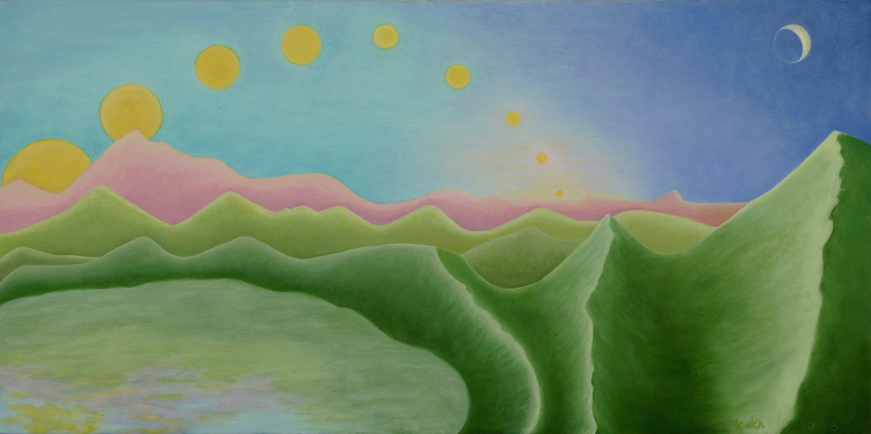 """Nine Suns"" by Monica DiGiovanni, 12"" x 24"" Oil on Canvas , Mud Season Review"