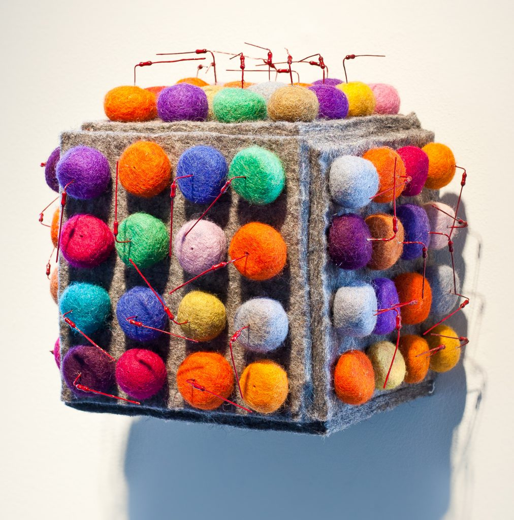 """Protection"" by Carol Wisker, 8""x 8"" x 7"" Recycled wool, felt and metal wire, wood box, 2010 (Photo credit: Howard A. Brunner), Mud Season Review"