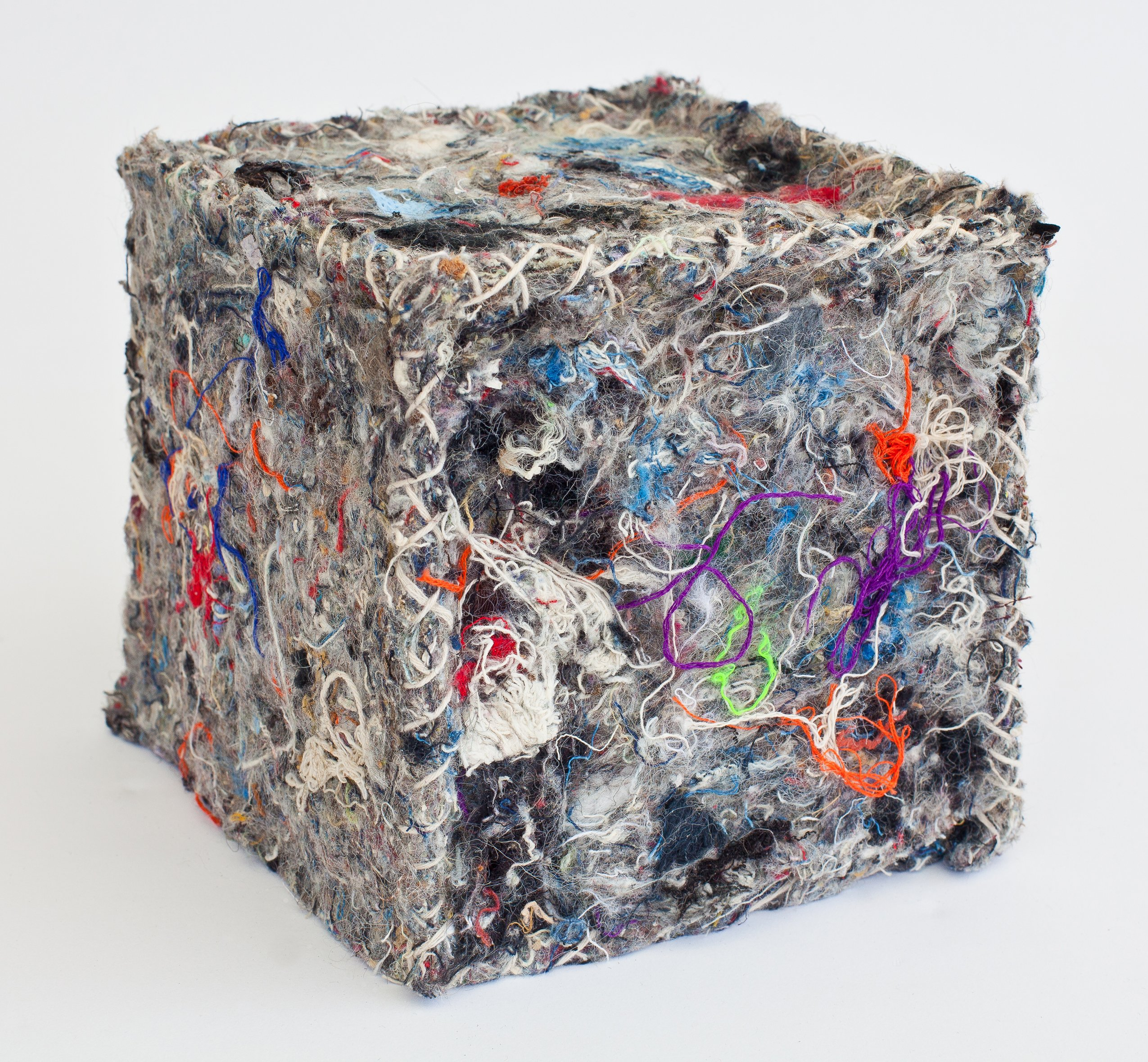 """Sheath"" by Carol Wisker, 6"" x 6"" x 6"" Recycled textile and fiber, wood box, 2010 (Photo credit: Howard A. Brunner), Mud Season Review"