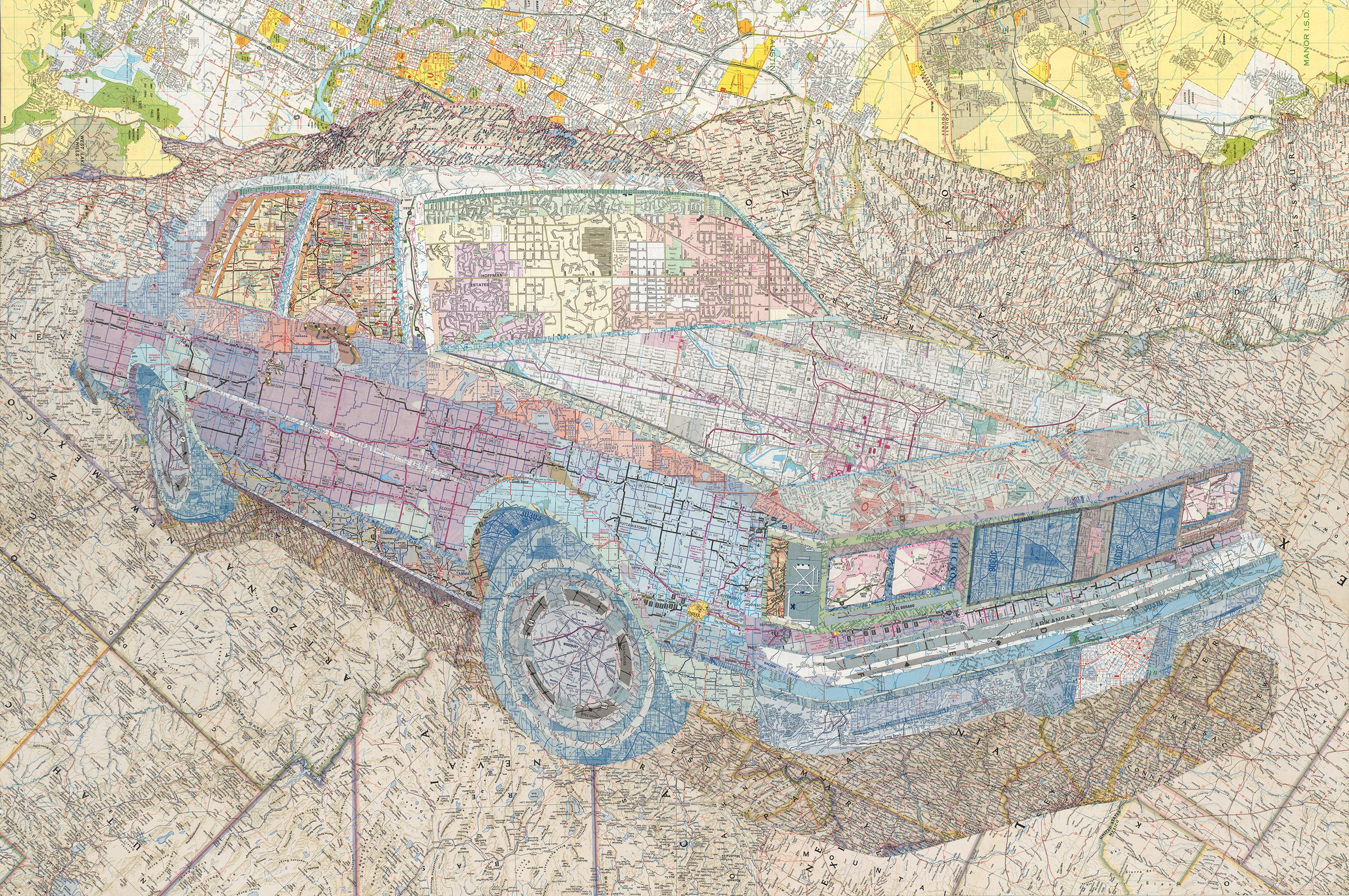 """""""Old's '84"""" by Matthew Cusick, 30"""" x 45"""" Inlaid maps on panel, 2014, Mud Season Review"""