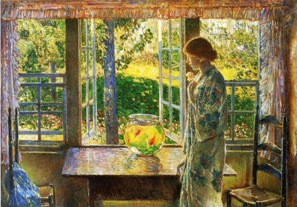 """""""The Goldfish Window"""" by Frederick Childe Hassam, 49.5"""" X 33.5"""" Oil on canvas, 1916 (Owner: Currier Museum of Art, Manchester, NH. Image courtesy of: The Athenaeum)"""