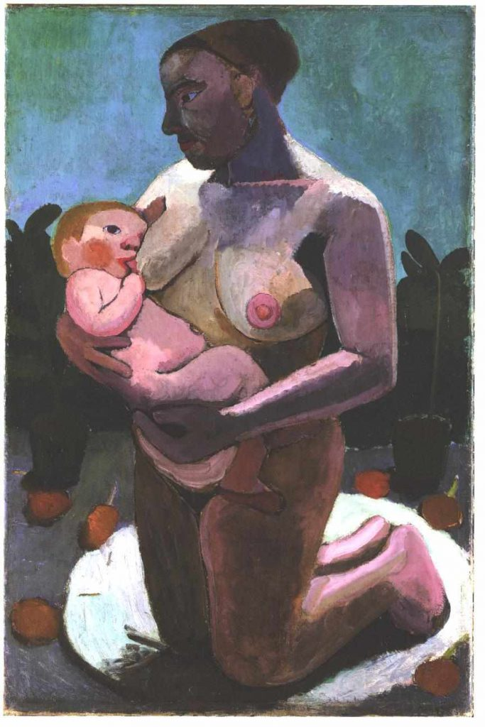 """""""Kneeling mother Nursing a Baby"""" by Paula Modersohn-Becker, 113x74 cm Oil Tempera on canvas on wood, 1907 (Image courtesy of: The Athenaeum)"""