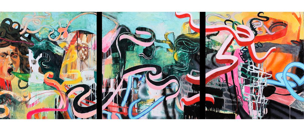 """Via Della Spada"" by Galen Cheney, 45"" x 120"" Oil and Enamel on Wood Panels"