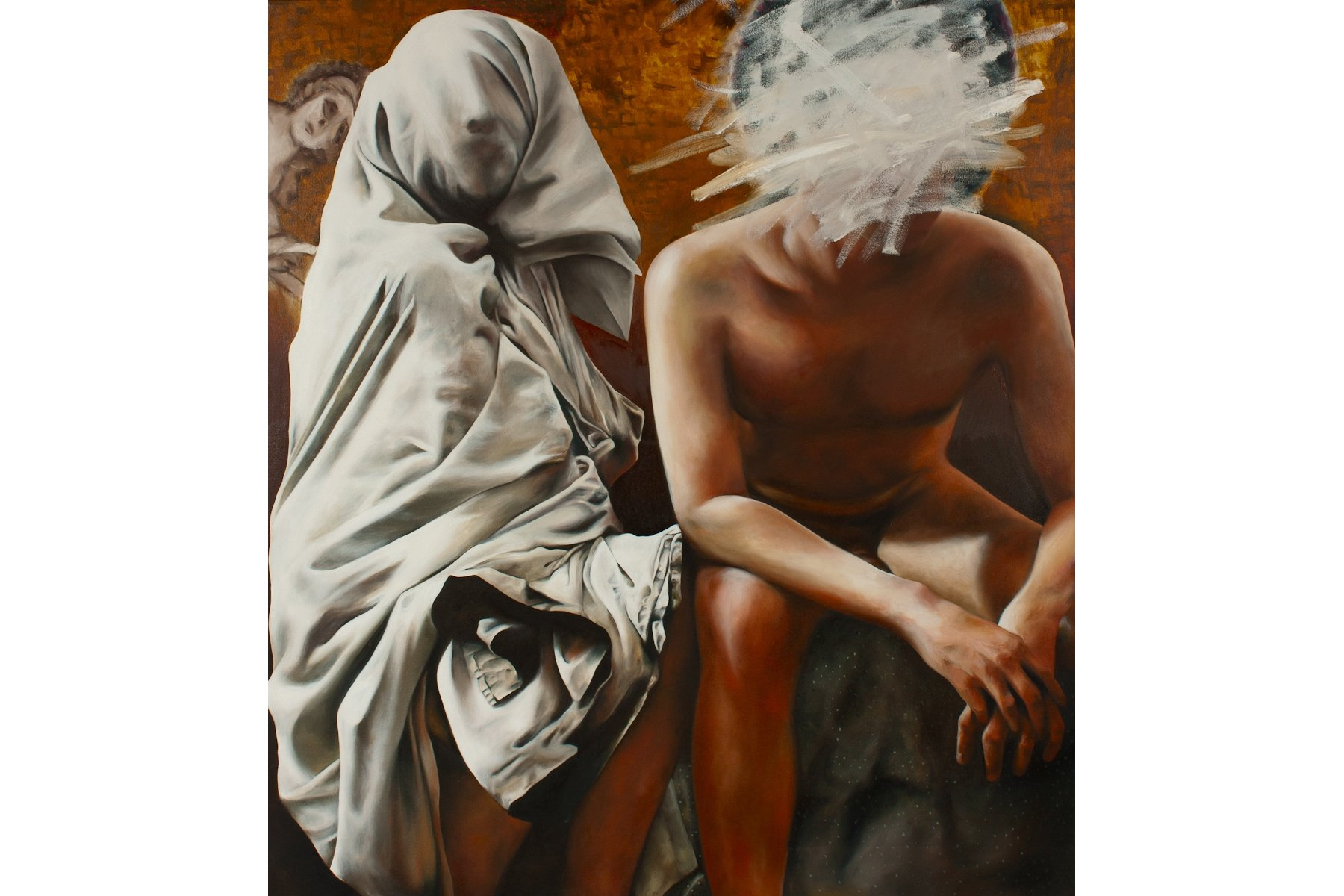 """Enveloped, or How I Felt with You"" by Julia Haw, 40"" x 36"" Oil on Canvas, 2007-2012, Mud Season Review"
