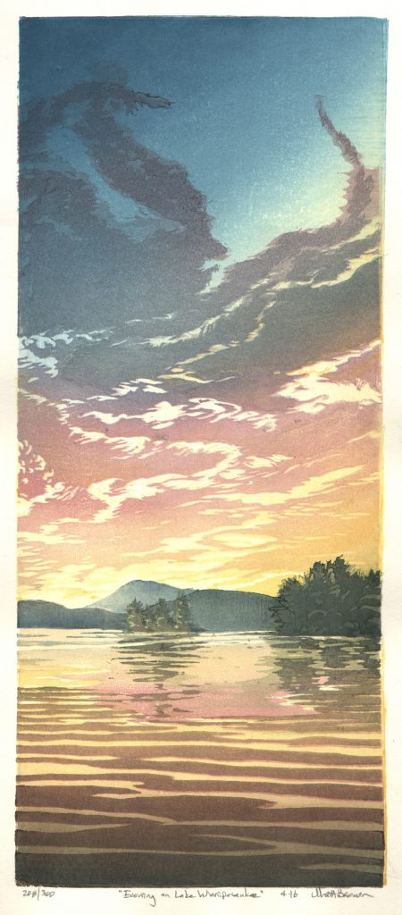 """Evening on Lake Winnipesaukee"" by Matt Brown, 7"" x 16"" Color Woodblock Print, Mud Season Review"
