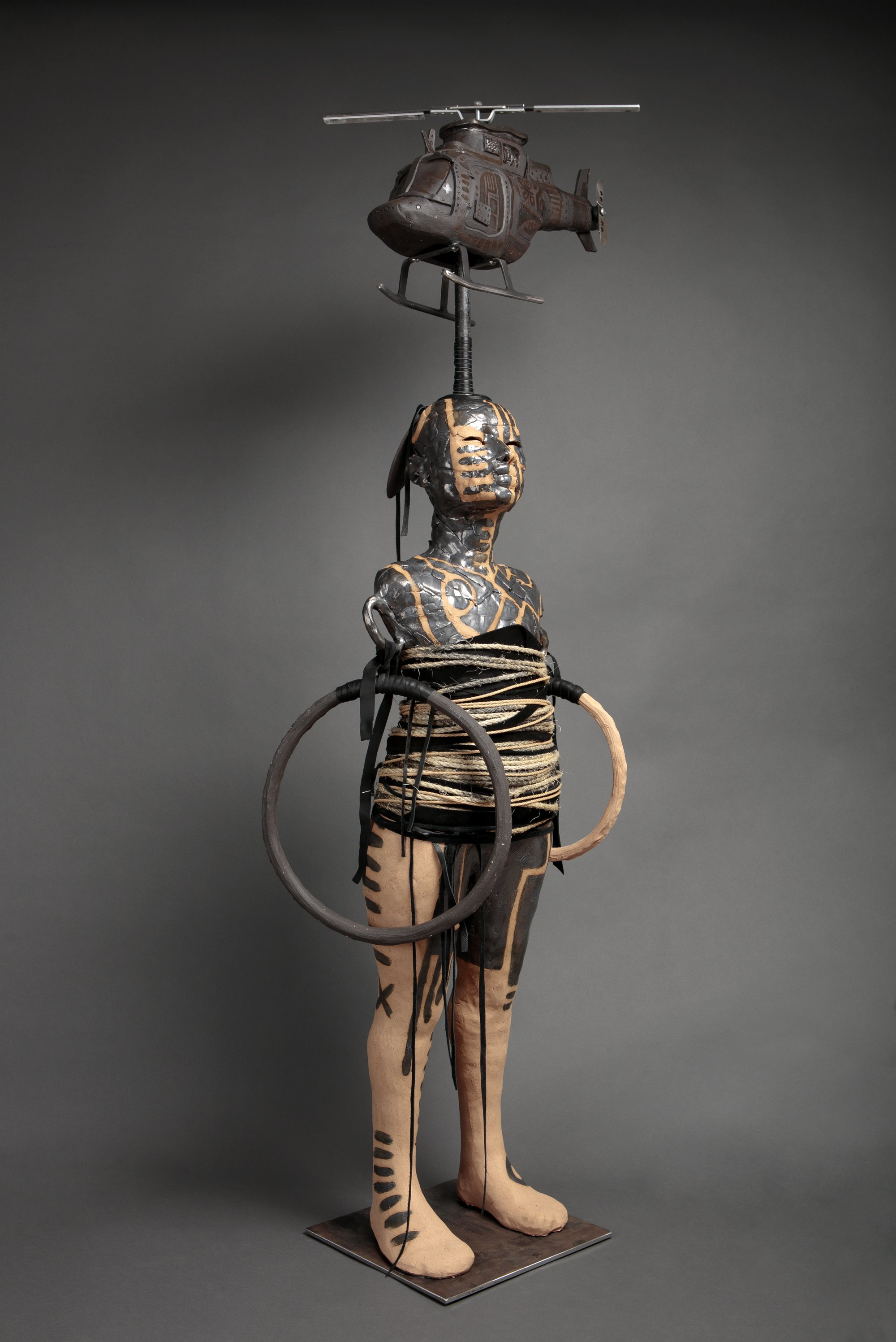 """Dream Machine"" by Rose B. Simpson, 62"" x 22"" x 18"" ceramic, steel, leather and rope, 2016"