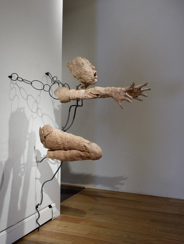 """Reach (Threshold)"" by Rose B. Simpson, Approx. 61"" x 39"" x 45"", Ceramic and forged steel, 2010"