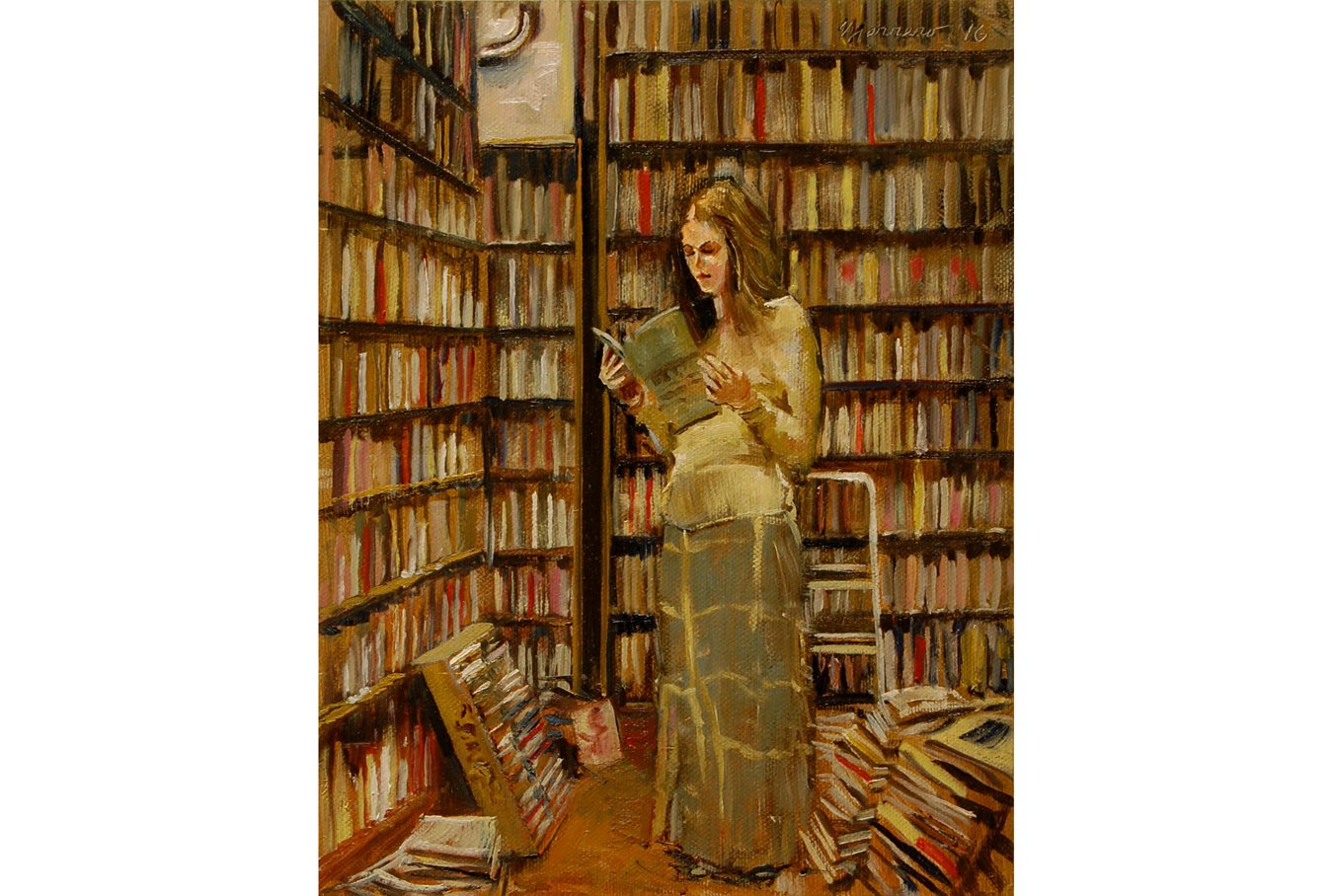 """At Ray & Judy's Bookstore, Study 2"" by Onelio Marrero, 10"" x 8​""​ Oil On Canvas Board"