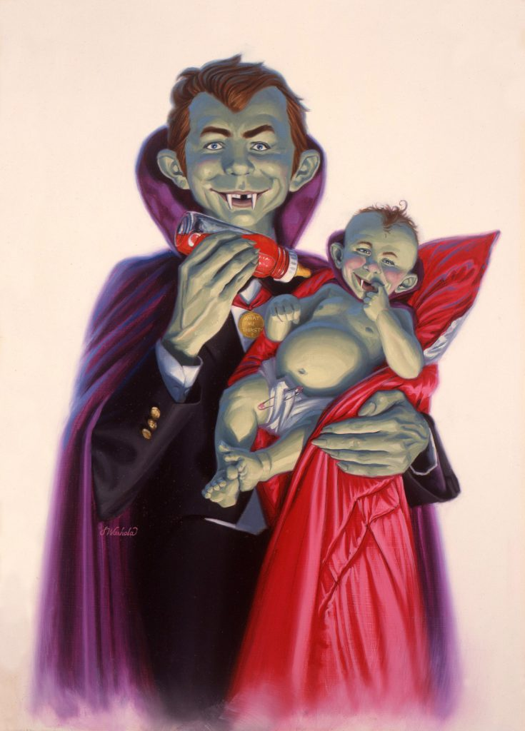 """Son of MAD Sucks"" by James Warhola, Original illustration for MAD Magazine 1991, Oil on canvas board, Copyright EC Publications"