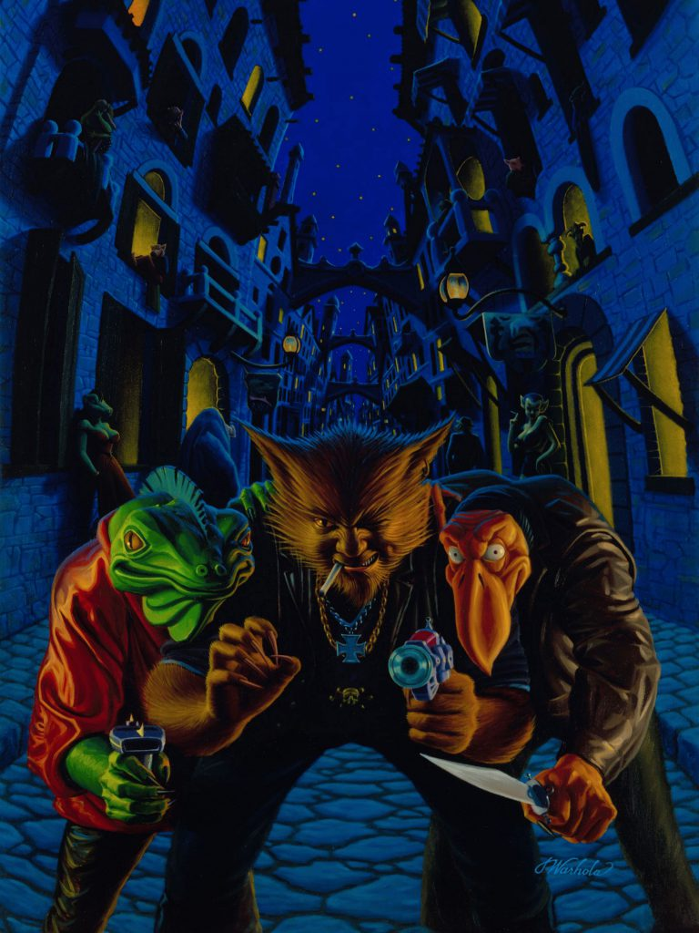 """Alien Muggers"" by James Warhola, Original illustration for Suicide, Inc. by Ron Goulart, Oil on canvas board, 1992"