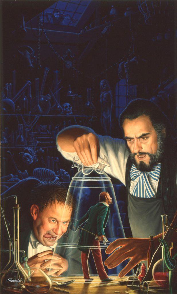 """Homunculus"" by James Warhola, Original illustration for Homunculus, James P. Blaylock's steampunk classic, Oil on canvas board"