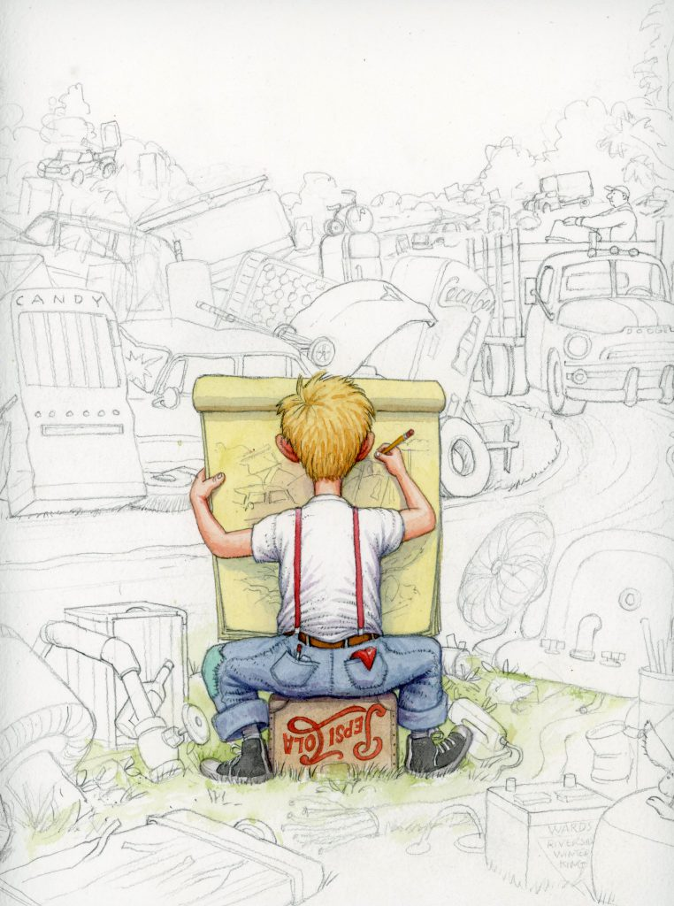 """Drawing in Junkyard"" by James Warhola, Original illustration for Uncle Andy's: A Faabbbulous Visit with Andy Warhol by James Warhola, Watercolor on paper, 2001"