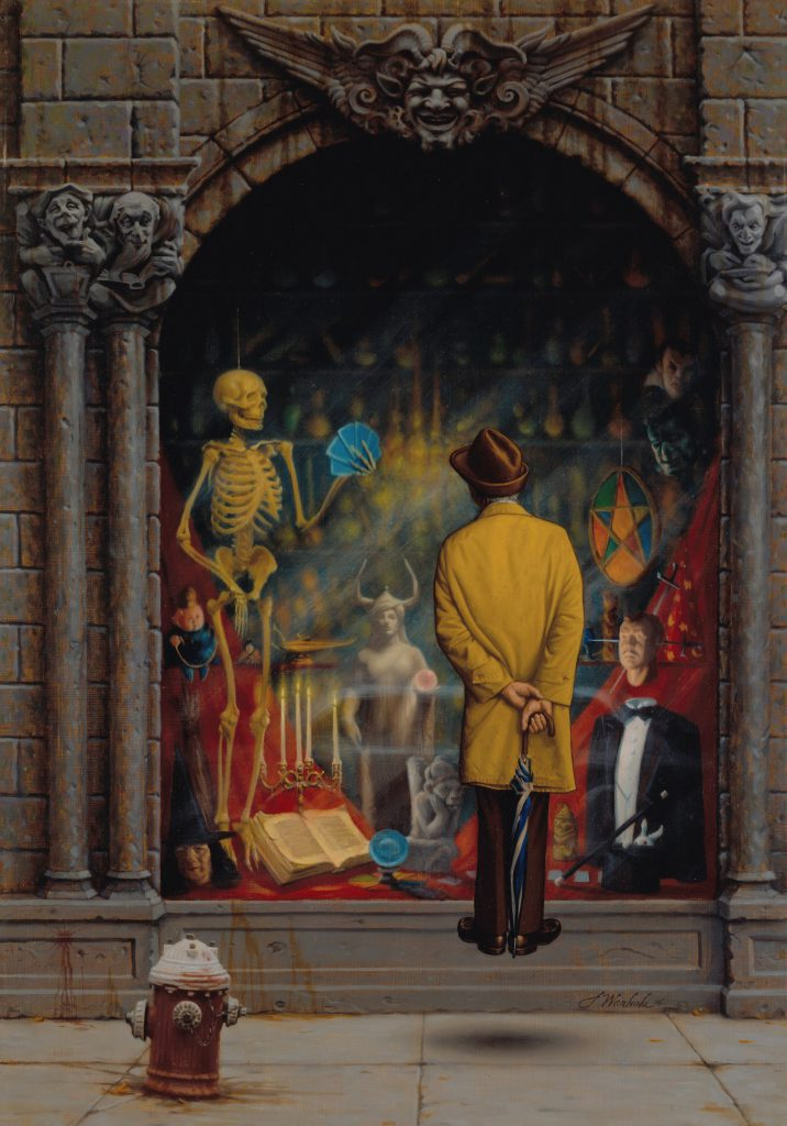"""The Magic Shop"" by James Warhola, Oil on canvas board, 1985"