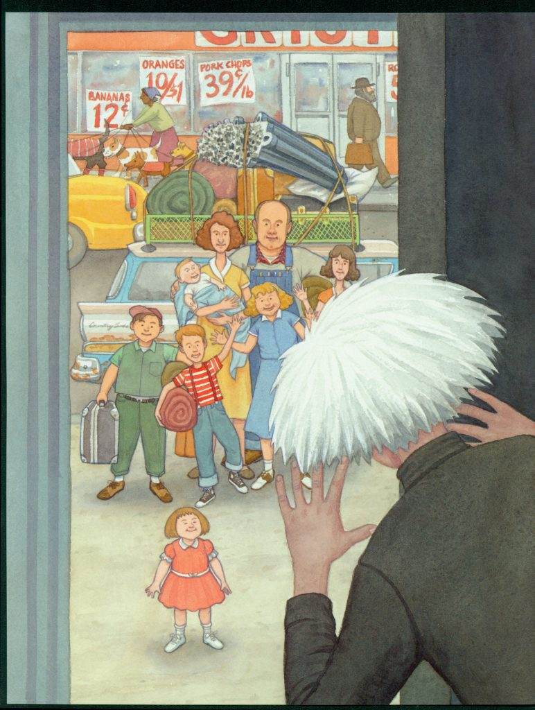 """Uncle Andy at the door"" by James Warhola, Original illustration for Uncle Andy's: A Faabbbulous Visit with Andy Warhol, Watercolor on paper, 2001"