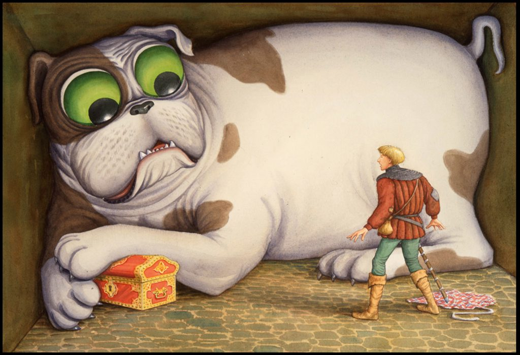 """bigDog"" by James Warhola, Original illustration for The Tinderbox by Hans Christian Andersen, Watercolor on paper, 1991"
