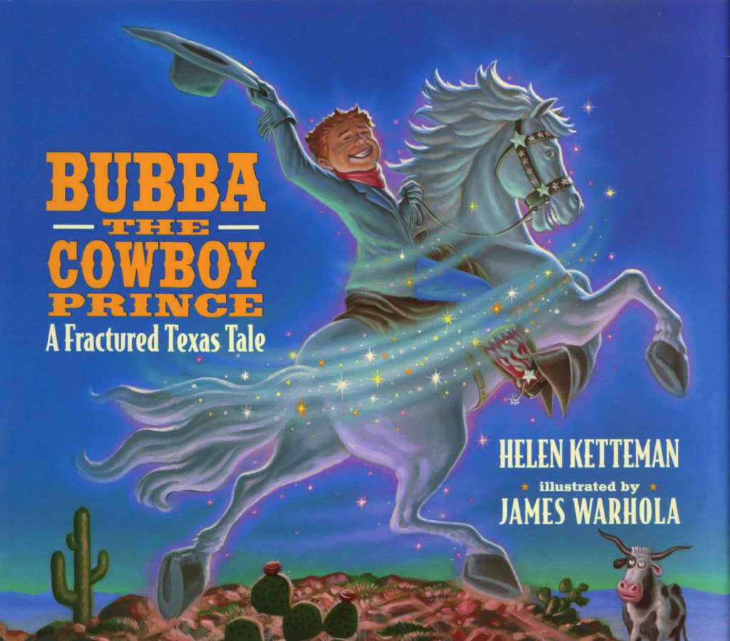 """Bubba the Cowboy Prince"" by James Warhola, Original illustration for Bubba the Cowboy Prince: A fractured Texas Tale by Helen Ketteman, Watercolor on paper, 1997"