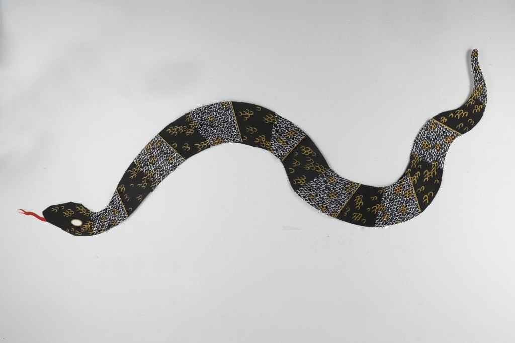 """""""Snake"""" by Monica Stewart, relief print, cut paper, acrylic gouache, approx. 10 1/2 x 138 inches, 2016"""