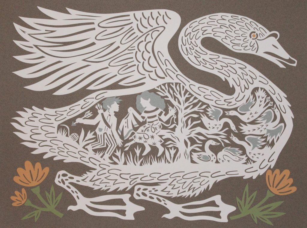 """The Six Swans"" by Monica Stewart, cut paper, 15 1/2 x 11 1/2 inches, 2016"