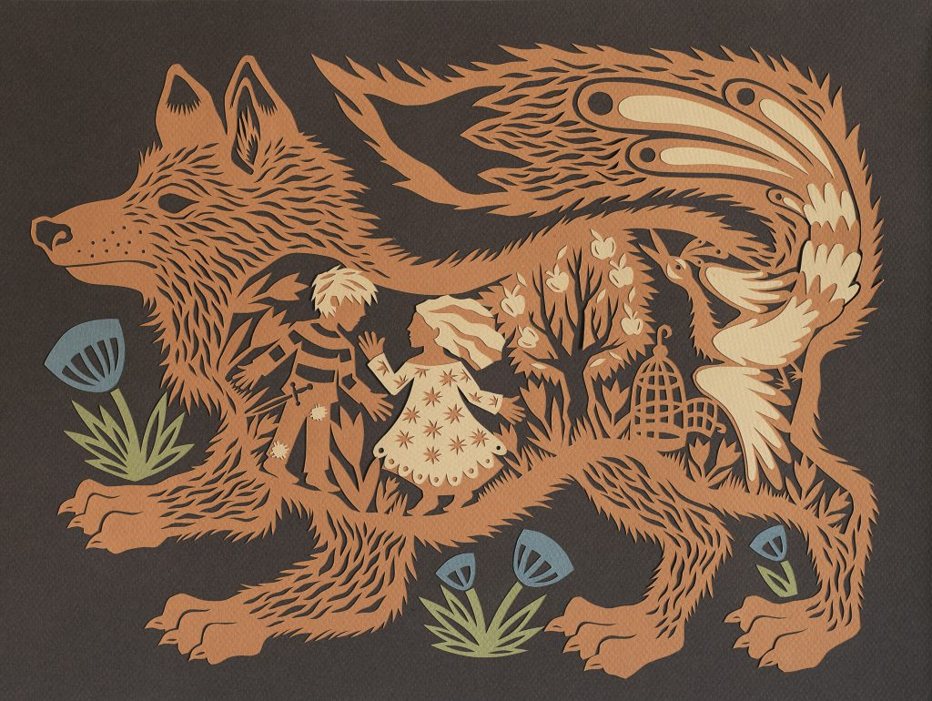 """The Golden Bird"" by Monica Stewart, cut paper, 15 1/2 x 11 1/2 inches, 2014"