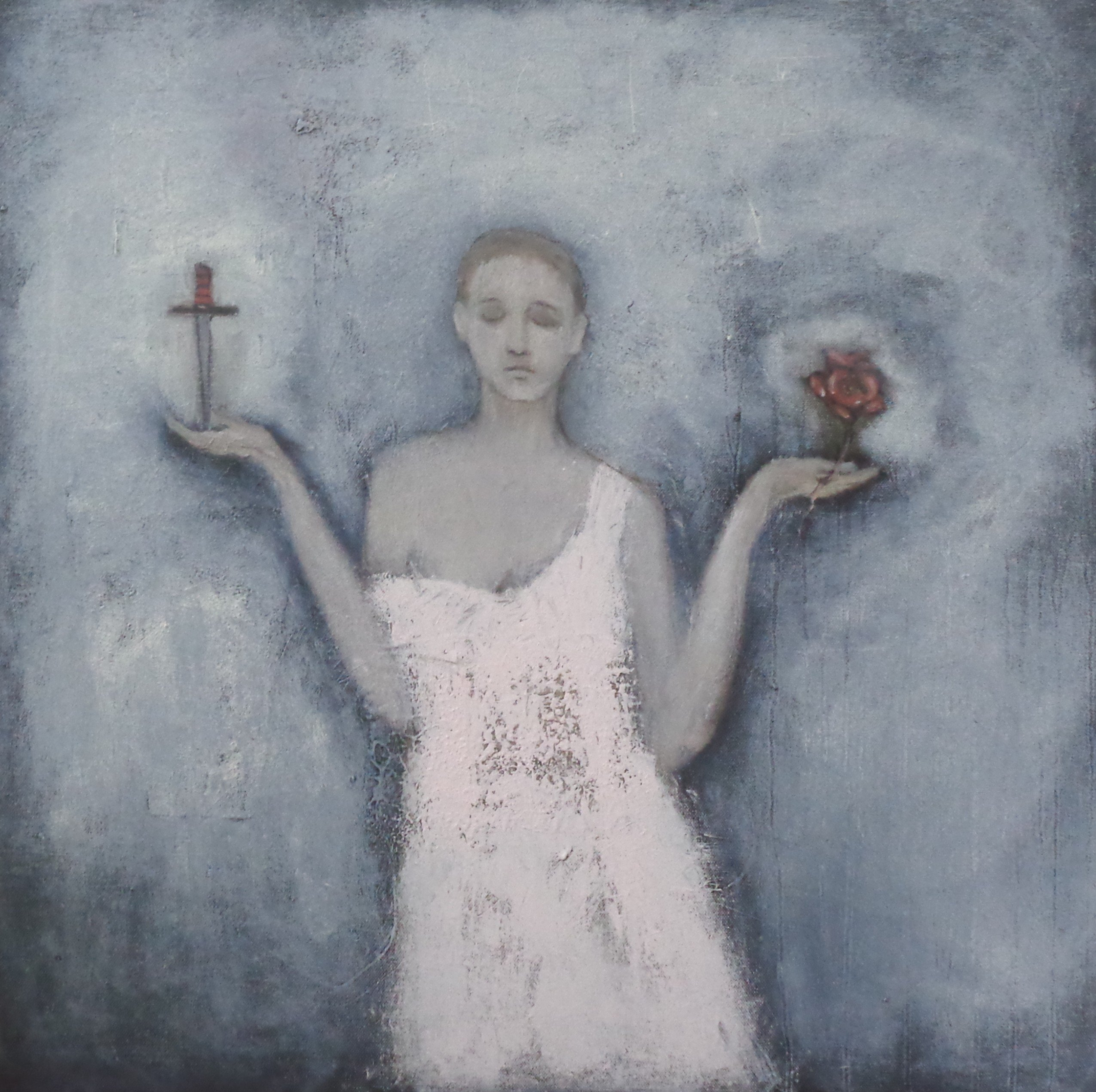 """""""Choice"""" by Jeanie Tomanek, Oil and mixed media on canvas, 24x24 inches"""