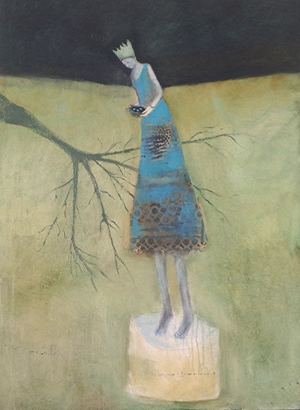 """""""Loss of Habitat"""" by Jeanie Tomanek, Oil and collage on canvas, 48x36 inches"""